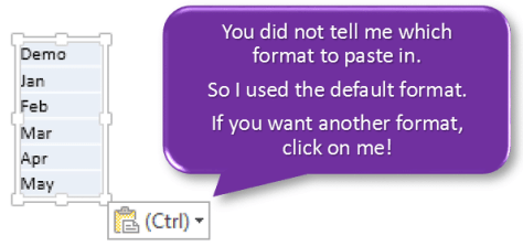 Copy paste drop down explained