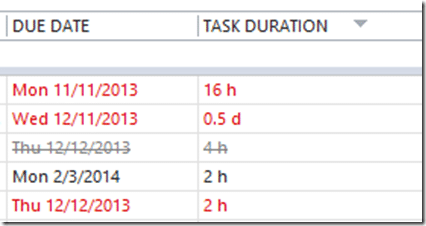 Outlook task folder - Task duration