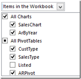 Delivering Excel reports - Items in the workbook