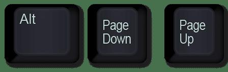 scrolling horizontally keyboard shortcut