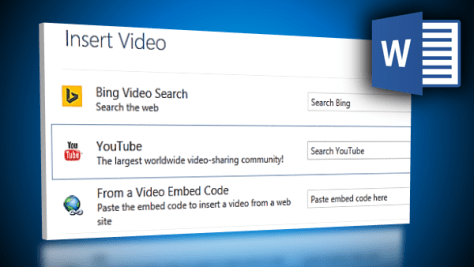 insert online video in Word