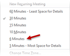 6 minutes time slot in Outlook calendar