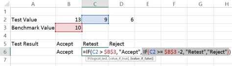 Excel IF function - nested IF