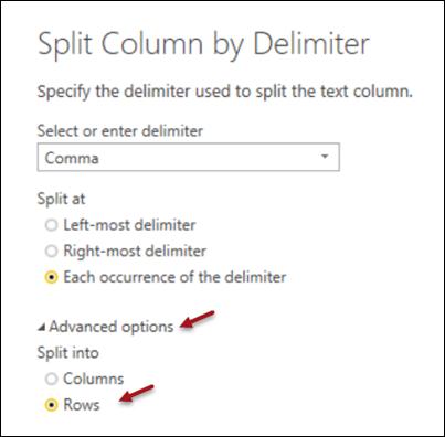 Split column by Delimiter dialog