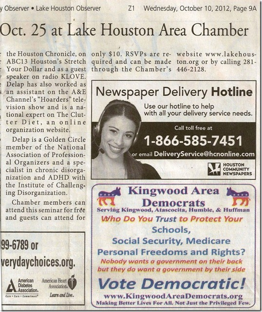 Kingwood Area Democrats Ad In Kingwood Observer (2012-10-10)