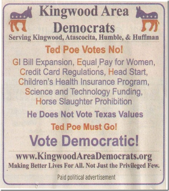 Kingwood Area Democrats Ad In Tribune (2012-10-17)