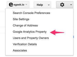Googel Search Console - Google Analytics Property