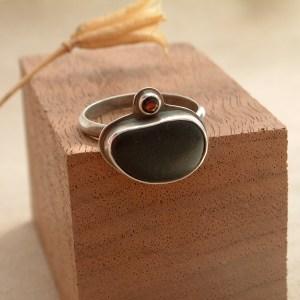 Beach Stone Ring with Garnet