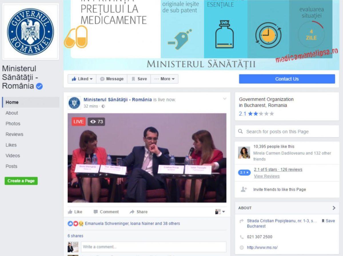 Ministerul Sănătății, conferințe Live pe Facebook