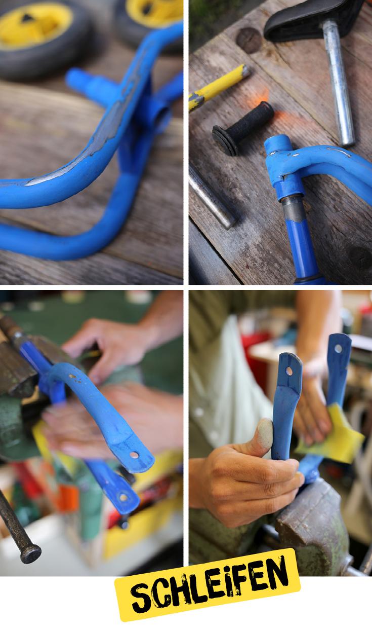 Kinderrad, Laufrad, Upcycling, DIY für Kinder, Schleifpapier, Edding Spray, Puky