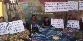 6 mujeres lideran la huelga de hambre de trabajadores de estatal Enatex