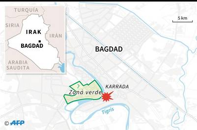 Mapa del centro de Bagdad con localización del atentado suicida que dejó más de un centenar de muertos / AFP / Sophie RAMIS AND Jose Vicente BERNABEU - SOPHIE RAMIS, JOSE VICENTE BERNABEU