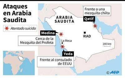 Localización de tres atentados suicidas que se produjeron este lunes en Arabia Saudita / AFP