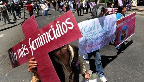 Una protesta en La Paz contra el feminicidio en 2015