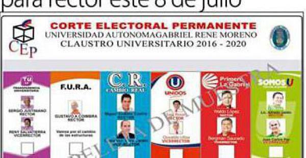 La papeleta de votación de los frentes que disputan el Rectorado