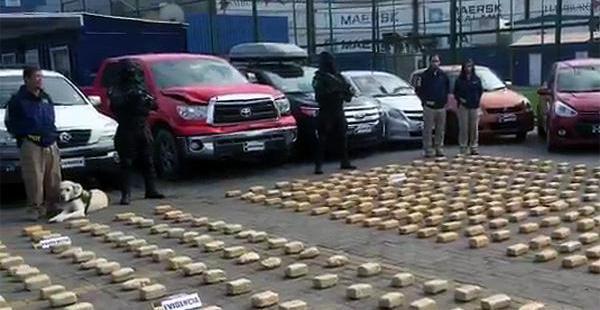 El cargamento de droga fue incautado por carabineros de la vecina nación en la población fronteriza de Iquique.