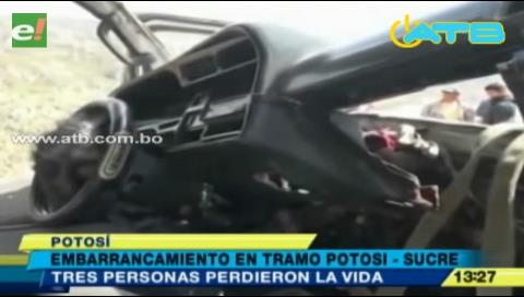 Tres personas mueren en un accidente en la ruta Potosí – Sucre