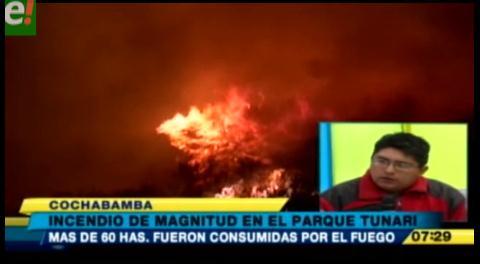 Incendio en el Parque Tunari se propagó por más de 7 horas