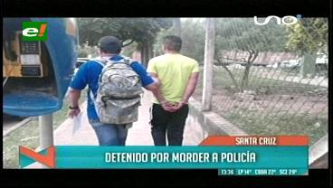 Sujeto es detenido por morder a un policía