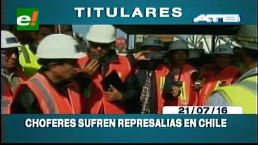 Titulares de TV: Denuncian represalias contra transportistas bolivianos en puertos  chilenos