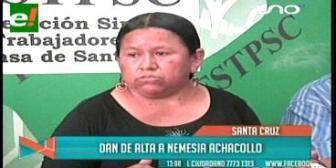Dan de alta a la ex ministra Nemesia Achacollo