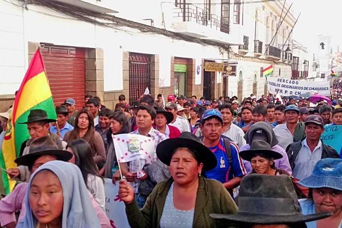 PROTESTA. La marcha del martes fue considerada como el comienzo de las movilizaciones de Chuquisaca por el campo