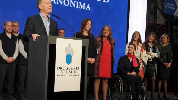 Discurso. Macri ayer participó de un acto en Sarandí junto a Vidal. Allí citó a Perón y volvió a hablar de productividad laboral. Foto: Télam