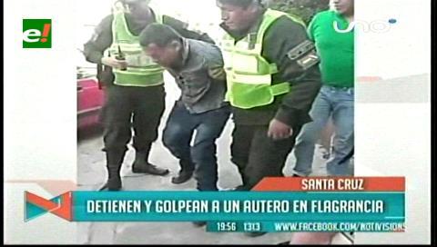 """Detienen y golpean a """"autero"""" en flagrancia"""