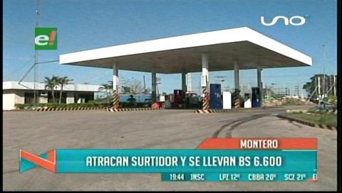 Atracadores roban Bs 6.600 de un surtidor de Montero