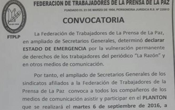 """Federación de la prensa denuncia """"vulneración permanente"""" de derechos en La Razón debido a recientes despidos"""