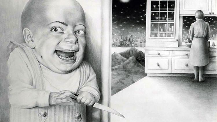 Laurie Lipton, dibujo, 'Last Night I Dreamt I Murdered Mommy 1980' ('Anoche soñé que asesiné a mi mamá 1980'), lápiz sobre papel, 63.5 x 91 cm / 25