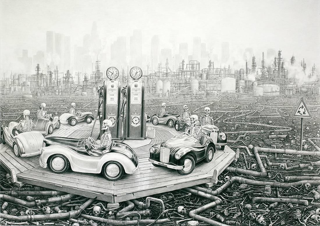 Laurie Lipton, lápiz, dibujo, 'Round and Round 2012' ('Vueltas y más vueltas 2012'), carboncillo y lápiz sobre papel, 94x134.6cm / 37