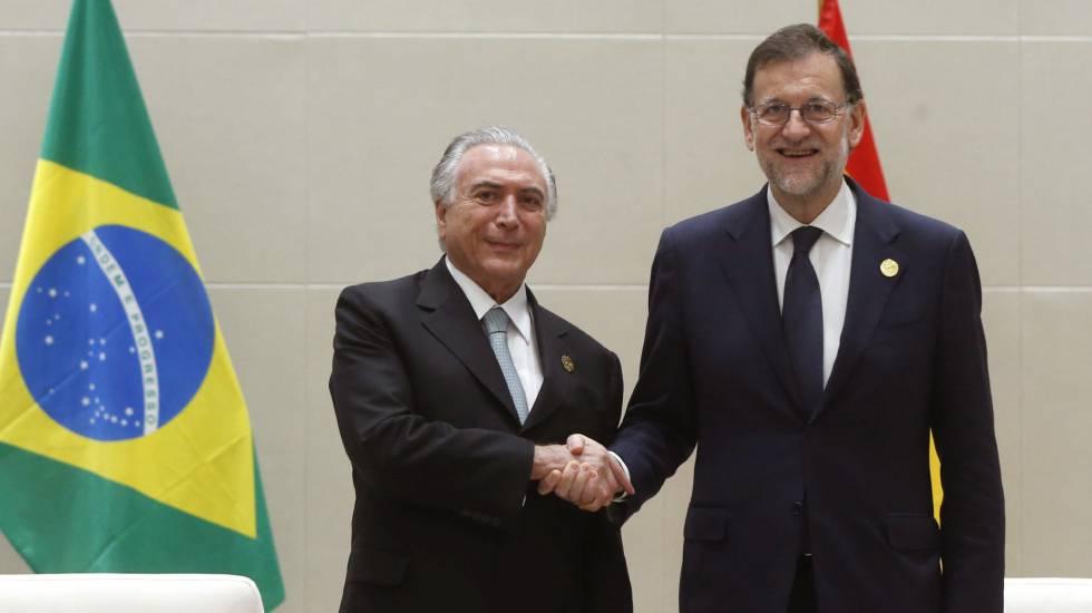 Mariano Rajoy (d), y el presidente brasileño, Michel Temer (i), este jueves en China.