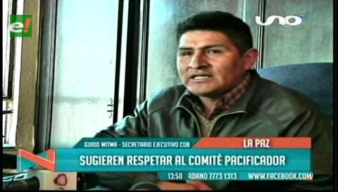 COB pide al Gobierno respetar la Comisión Nacional de Pacificación