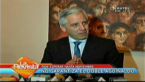 García Linera: En noviembre se sabrá si habrá doble aguinaldo
