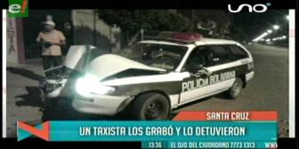 Un taxista graba accidente de policías, estos lo detienen y le rompen su brevet