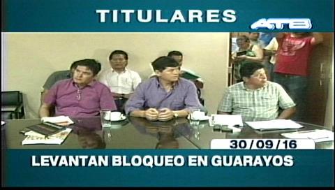 Titulares de TV: Levantan bloqueo en Guarayos tras la firma de un acuerdo con la Gobernación cruceña