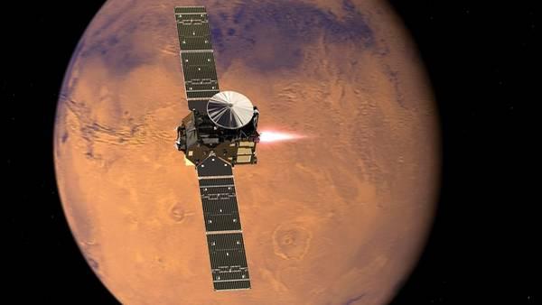 Recreación artística de la misión ExoMars acercándose al Planeta Rojo.  DPA.