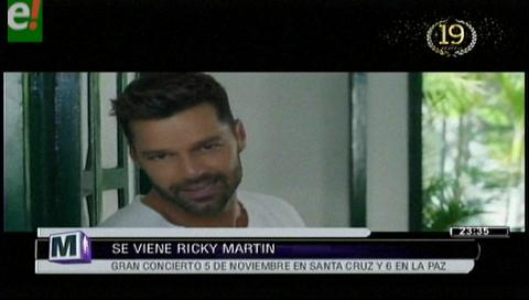 Ricky Martin en Santa Cruz este 5 de noviembre