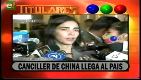 Titulares de TV: Canciller de China visitará Bolivia, impulsará proyectos en el país