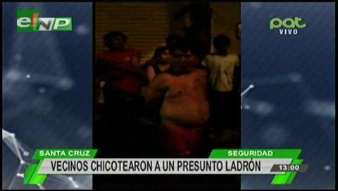 Santa Cruz: Vecinos detienen y chicotean a un presunto ladrón