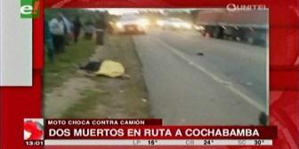Dos personas mueren trs choque de una moto contra un camión en la vía a Yapacaní