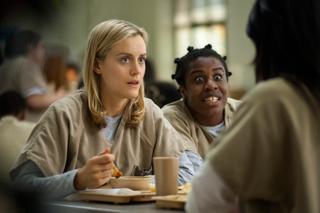 "Netflix 2012 Orange is the New Black Season #1 Cast: Taylor Shilling- Piper Michelle Hurst- Miss Claudette Laura Prepon- Alex Vause Vicky Jeudy- Janae Watson Danielle Brooks- Tasha ""Taystee"" Jefferson Uzo Aduba- Crazy Eyes Samira Wiley- Poussey"
