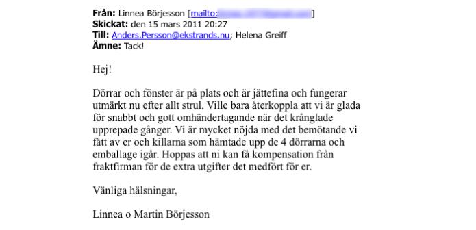 Ekstrands referenser Linnea & Martin