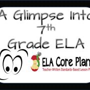 glimpse into 7th grade ela core plans blog cover