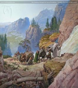 La Compañía del Anillo inicia el ascenso del Caradhras, según Ted Nasmith