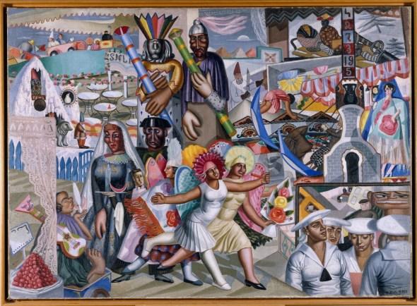 Maruja Mallo, La verbena, 1927. Óleo sobre lienzo, 119 x 165 cm. Museo Nacional Centro de Arte Reina Sofía, Madrid. © Maruja Mallo, VEGAP, Madrid, 2015.