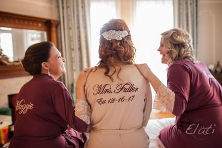 bride and bridesmaids in cute bathrobes