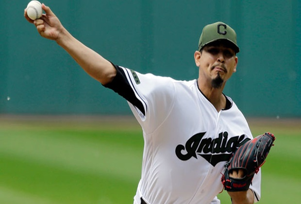 Cleveland Indians starting pitcher Carlos Carrasco delivers in the first inning of a baseball game against the Oakland Athletics, Monday, May 29, 2017, in Cleveland. (AP Photo/Tony Dejak) Athletics Indians Baseball