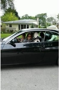 Joy and Aunt leaving in car for her new home
